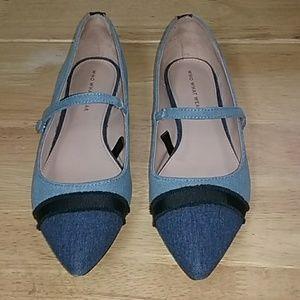 Who What Wear Denim Mary Jane Pointy Flats Size 8